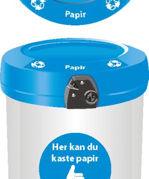 Avfallsbeholder for papir 180 L - utendørs - åpen