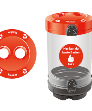 Avfallsbeholder for flasker 180 L - utendørs - åpen