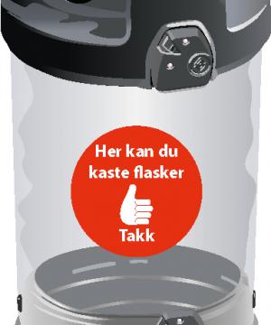 Avfallsbeholder for flasker 180 L - utendørs - lukket