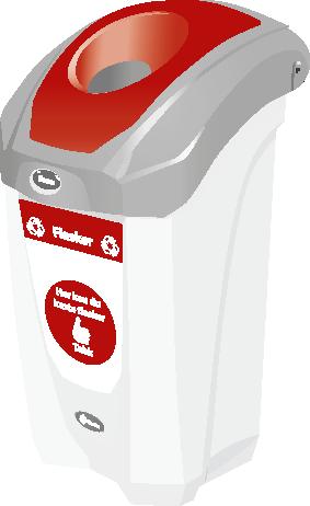 Avfallsbeholder for flasker 30 L - innendørs med veggfeste